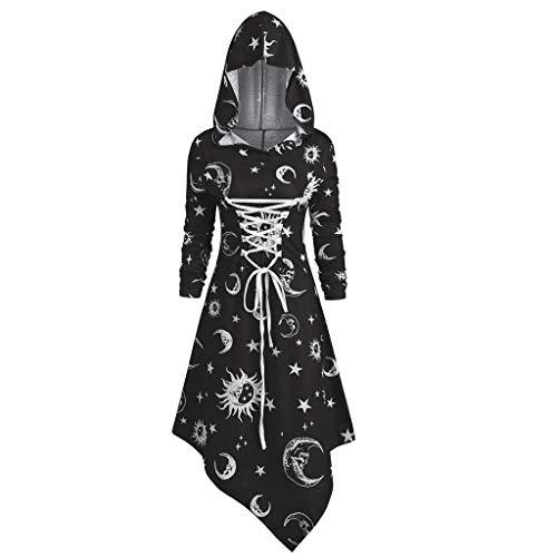 Retro Kleid mit Kapuze für Damen Frauen Lange Ärmel Damenkostüme Vintage Mittelalter Renaissance Halloween Party Kostüm Kleider Große Größen Lange Pullover (Renaissance Festival Kostüm Frauen)