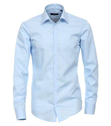extra slim fit hemden Venti - Slim Fit - Bügelfreies Herren Business Hemd mit Extra langem Arm(72cm) in verschiedenen Farben (001482), Kragenweite:43;Farbe:Blau (102)