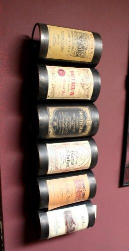 Supporto per 6 bottiglie di vino in metallo, stile vintage - French Wine Label