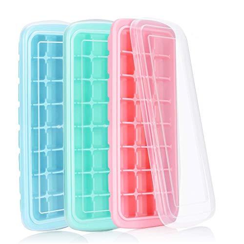 Eiswürfelbehälter mit Deckel, 3cm Würfel, beste Silikon Eiswürfel Form, einfach zu lösen, am besten für Gefrierschrank, Babynahrung, Wasser, Cocktail und andere Getränke (3PCS) by OITUGG - Würfel 3