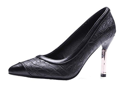 Voguezone009 Femme Pull Bout Pointu Haut Talon Fil Dessin Assorti Ballerines Couleur Noir