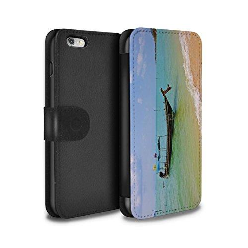 STUFF4 PU-Leder Hülle/Case/Tasche/Cover für Apple iPhone 6+/Plus 5.5 / Feuerwerk Muster / Thailand Landschaft Kollektion Boot/Küste