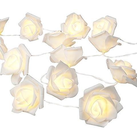 Denknova® 30er LEDs Rosen Lichterkette, batteriebetrieben, Warmweiß, 3