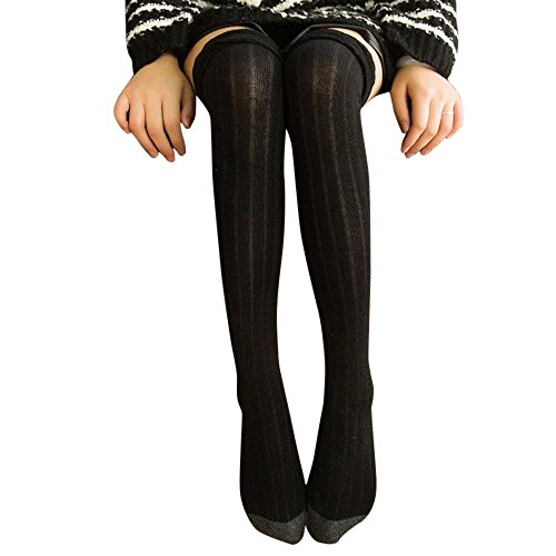 TWIFER Damen Winter gestrickt über Knie lange Stiefel Oberschenkel Hohe Warme Socken Leggings (Schwarz, 44cm) (Knie-hohe Socken Fahrräder)