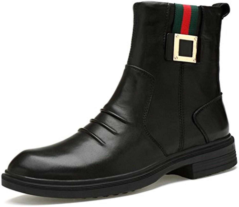ZQ@QXOtoño e Invierno British altos retro Plus cashmere caliente hombres Martin botas, Negro y algodón, 44  -