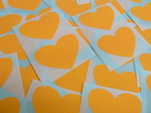 50x37mm Fluorescente Naranja Brillante Mandarina Con Forma De Corazón Etiquetas, 40 auta-Adhesivo Código De Color Adhesivos, adhesivo Corazones para Manualidades y Decoración