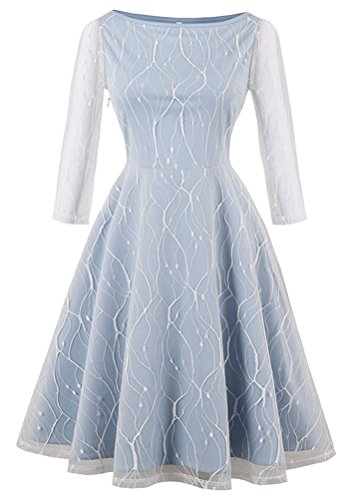 Kimring Women's Vintage 3/4 Length Sleeve Boat Neck Lace Mesh Fit and Flare A-line Swing Cocktail Party Dress Light-blue Small (Boatneck 3/4-sleeve)