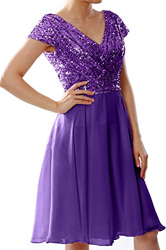 MACloth Women Cap Sleeve Short Bridesmaid Dress Sequin Wedding Party Formal Gown purple