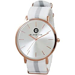 Blake LDN Ladies Rose Gold Plated Nato Nylon Fabric Strap Quartz Women's Wrist Watch with Silver Sunray Shiny Analogue Dial and Pink White and Grey Fashion Zulu Maratac Band