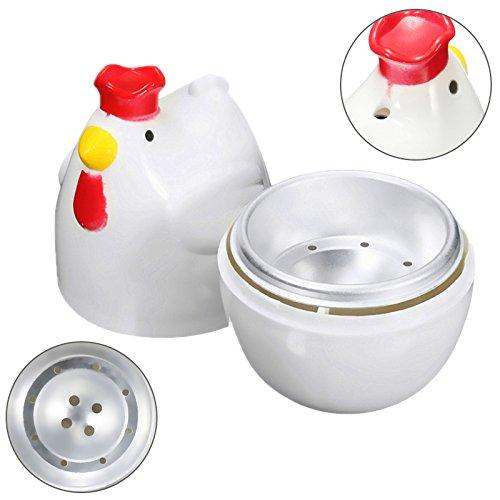 SODIAL Chick-shaped 1 gekochtes Ei Dampfgarer Dampfgarer Stoessel Mikrowelle Eierkocher Kochutensilien Kuechenhelfer Zubehoer Werkzeuge