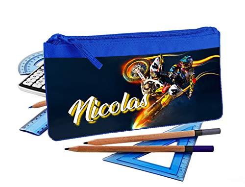 Trousse d'école Crayons Moto Cross personnalisée avec prénom