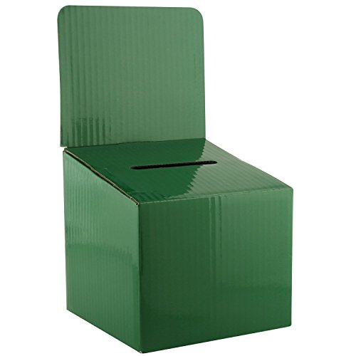 MCB–Medium Karton–Wahlurne–Vorschlagsbox–Tombola Box–Ticket Box–mit abnehmbarer Header für Verwendung auf dem Tisch (5Pack, grün) -
