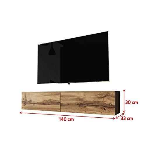Selsey Kane - TV-Lowboard Fernsehschrank hängend 140 cm (Wotan Eiche, ohne LED)