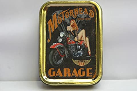 Motorhead Garage, sexy red head pinup sat on motor bike.