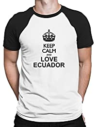 Teeburon Keep calm and love Ecuador Camiseta Raglan