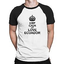 Teeburon Keep calm and love Ecuador Camiseta Raglan