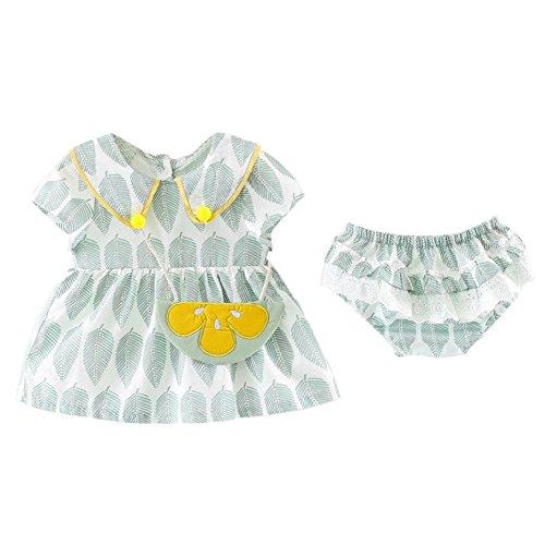 Shiningup Sommer Baby Mädchen Outfit Kleid PP Bloomer Unterwäsche Shorts Gürteltasche 3 Stück Kleidung - Unterwäsche 2t Kleinkind Mädchen