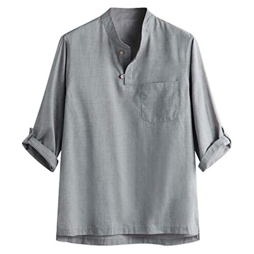 Herren Leinenhemd,Skxinn 3/4 Ärmel Männer Freizeithemd Sommer Hemd Regular Fit Shirt S-XXL(Grau,X-Large)