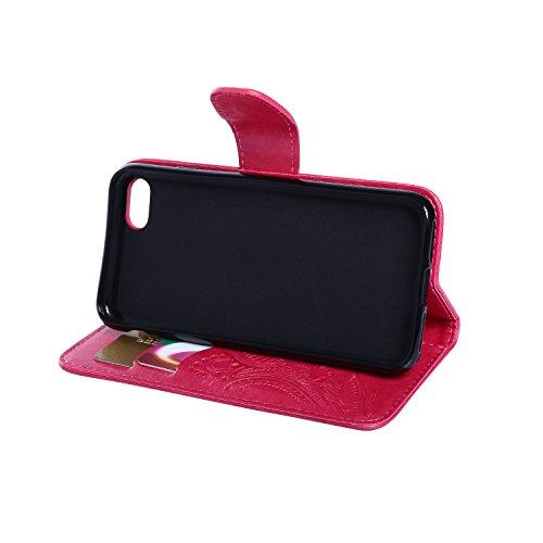 CaseHome iPhone 7 4.7'' Hülle Geprägter Henna Blume Muster Buch-Stil Folio Magnetic Schließung Portemonnaie Stilvolle Elegante Entwurf (Mit Freiem HD Schirmschutz) mit Kreditkartensteckplätze und Abne Rosa