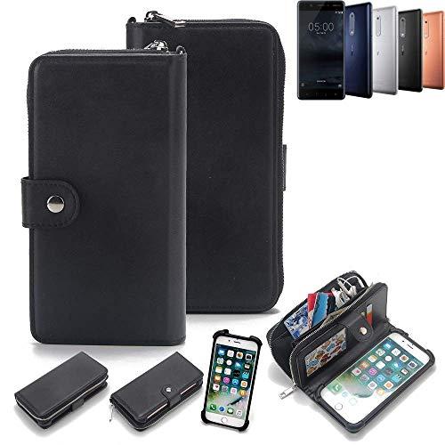K-S-Trade 2in1 Handyhülle für Nokia 5 Dual-SIM Schutzhülle & Portemonnee Schutzhülle Tasche Handytasche Case Etui Geldbörse Wallet Bookstyle Hülle schwarz (1x)