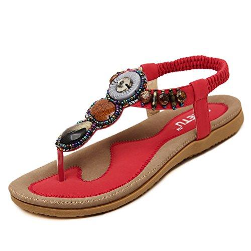 dqq femmes de Bohème avec string pour femme sandales Rouge - rouge