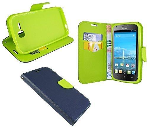 Huawei Ascend Y600 // Buchtasche Hülle Case Tasche Wallet BookStyle mit STANDFUNKTION Blau-Grün @ Energmix