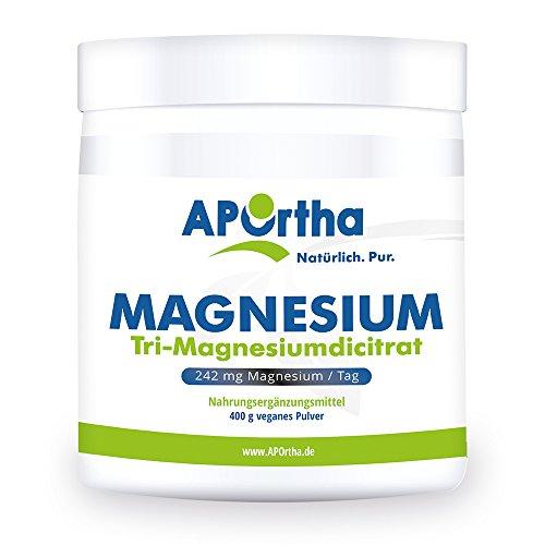 APOrtha Magnesium-Citrat | 400g veganes Pulver | Trimagnesiumdicitrat ohne Zusätze -