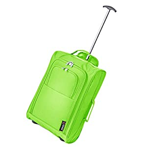 Frenzy/5Cities Lightweight Hand Luggage Bag - Approved Ryanair 2 Wheeled Cabin Baggage. 42L Travel Suitcase Holdall Includes Padlock! (Green)