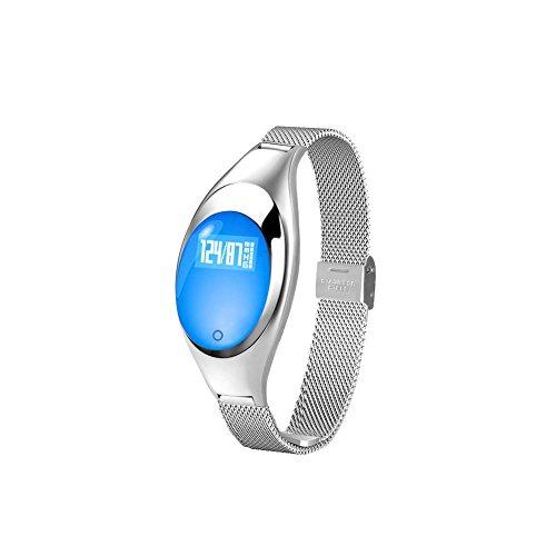 CHENG Smart Hand Ring Smart Lady High-End Metall Schmuck Hand Ring Schritt Gesundheit Test Herzfrequenz Blut Druck Alert, Blau