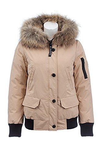 """V116 Damen Winterjacke Bomberjacke """"Snowimage"""" mit Echtfellkapuze (34-36, beige)"""