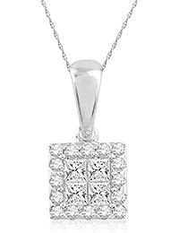 Pave Prive 18ct White Gold with White Diamonds Square Pendant on Chain 46cm