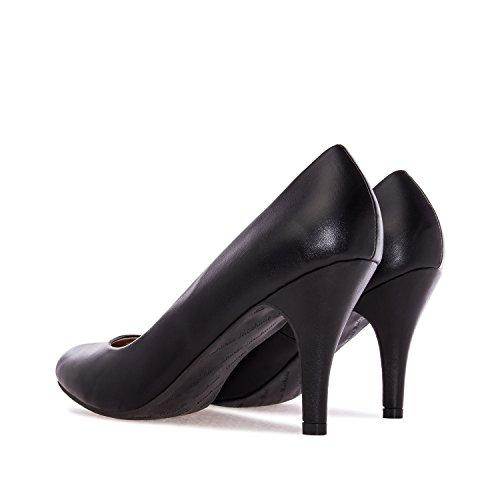 Andres Machado.AM422.Escarpins . Forme et talon classiques de 9 cm. Pointe de pied arrondie. Pour toutes les pointures de la 32 à la 45.… softnoir