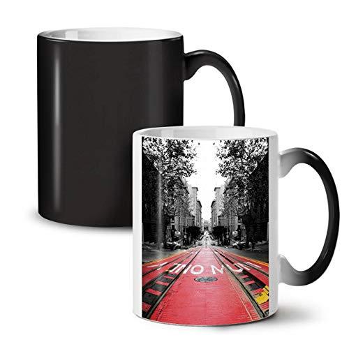 Wellcoda USA Straße Städtisch Stadt Farbwechselbecher, Eisenbahn Tasse - Großer, Easy-Grip-Griff, Wärmeaktiviert, Ideal für Kaffee- und Teetrinker