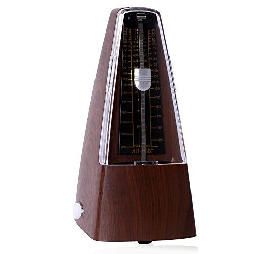 CAHAYA Mechanisches Metronom mit Glocke hoher Prazision Classic Verschiedene Geschwindigkeiten einstellbar Braun Holzmaserung