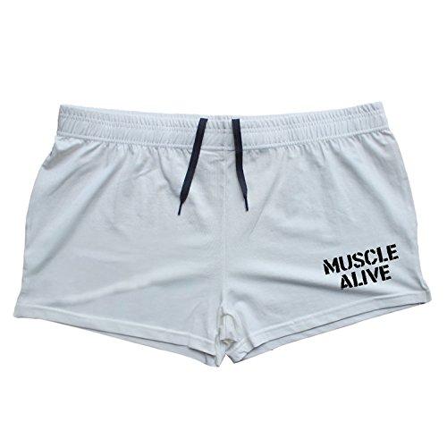 Musclealive Herren Fitnessstudio Bodybuilding Trainieren Kurze Hose Baumwolle Men Shorts (Weiß Elasthan Man Baumwolle)