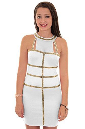SAPHIR BOUTIQUE Damen Gold Einsatz Contrast Netzeinsatz Ärmellos Damen Bodycon Kleid Elfenbein / Gold