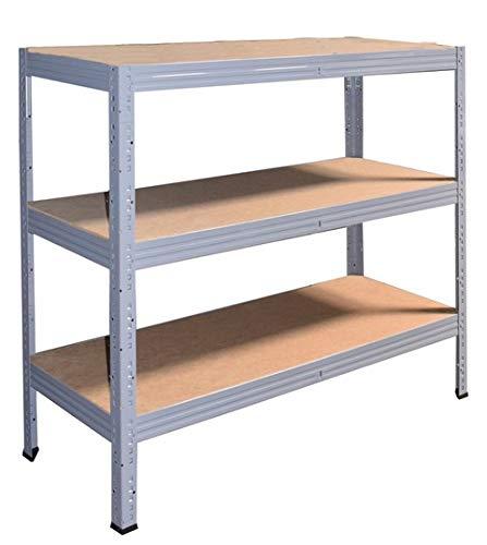 Shelf Creations Industrie Steckregal grau 90x80x40 cm mit 3 Böden Schwerlastregal aus Metall verzinkt: Lagerregal geeignet als Kellerregal, Haushaltsregal, Archivregal,...