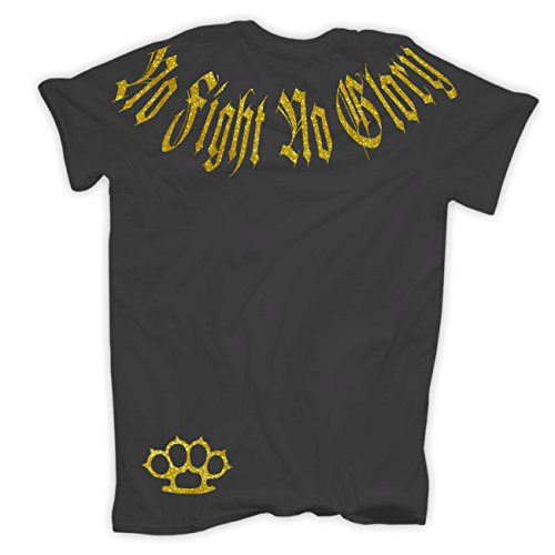 Männer und Herren T-Shirt Smile now Cry later (GOLD Serie) mit Rückendruck Körperbetont grau