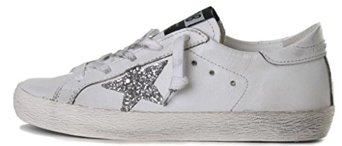 GOLDEN GOOSE DELUXE BRAND SNEAKERS SUPERSTAR A17 WHITE LEATHER SILVER GLITTER