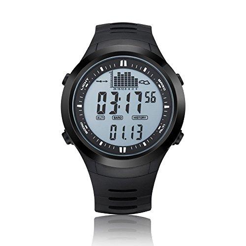 Digital Angeln Barometer Uhr Thermometer mit Höhenmesser Wettervorhersage Spovan Marke Armbanduhr, white dial