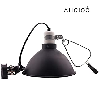 AIICIOO Reptile Bulb Holder with Clamp 8.3 Inches Terrarium Lamp Reflector in E27 Ceramic Socket for Lizard Tortoise Bearded Dragon Suitable for UVB and Heating Lamp
