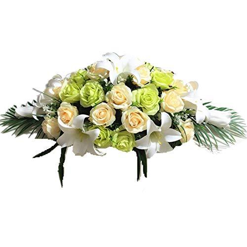 Mingzuo Künstliche Blumen Hochzeit Tisch-Blumenarrangement Fake Rosen Party Garten Craft Art Decor, champagnerfarben, 60 cm (Künstliche Blumen Für Die Beerdigung)