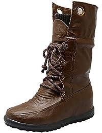 08ea869fc LuckyGirls Botas Mujer Moteras Cross-Atado Zapatos Botines De Media Caña  Zapatos Planos