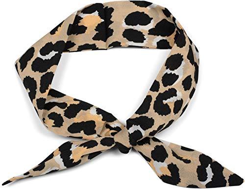 ultifunktionstuch schmal mit Leoparden Animal Print Muster, Haarband, Tuch, Halstuch, Schleife, Taschenband 01020041, Farbe:Hellbraun ()