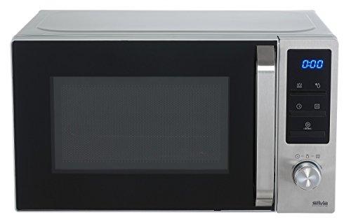Silva-Homeline MWG-E 20.8 INOX Mikrowelle / 35 cm / 800 W / 1000 W Grill / beleuchtetes LCD Display / 20 L Garraum / 5 Leistungsstufen / blau