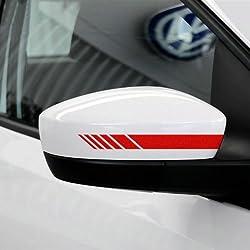Alamor 2pcs Espejo Retrovisor Del Coche Etiqueta Engomada Del Vinilo Raya Calcomanía Emblema Kk Para Mercedes Benz-Red