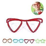 OUNONA Trinkhalm Brillen Strohhalme Kunststoff DIY lustige Brille (zufälliges Muster)