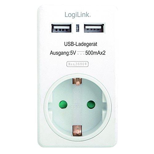 LogiLink PA0057 USB Steckdosenadapter (Passthrough) mit 2x USB-Ports à 500mA zum Aufladen von Geräten mit USB Ladefunktion