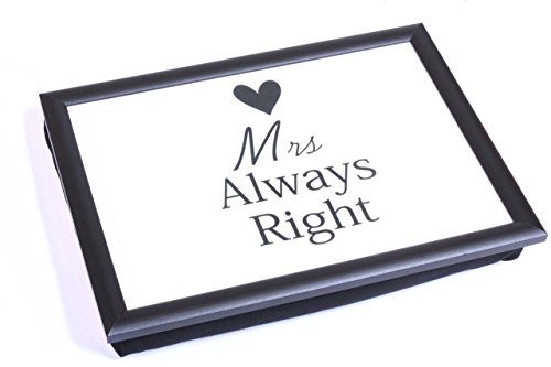 Mrs Always Right With Heart Lap Bandeja de servir puf cama de TV cojín suave acolchado comida retro regalo
