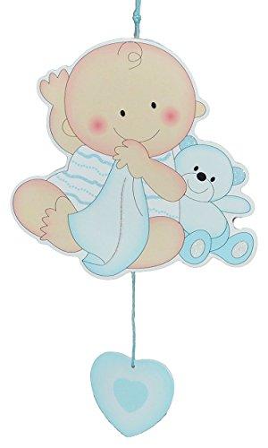 """Türschild / Wandbild / Deko Hänger – """" Baby mit Teddybär """" – blau – HOLZ – selbstklebend – Kinderzimmer Deko Bilder Mädchen zur Geburt Babys Neugeboren"""